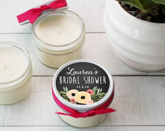 Set of 12 - 4 oz Soy Candle Bridal Shower Favors - Sophie Label Design - Rustic Bridal Shower Favors, Mason Jar Bridal Shower Favors