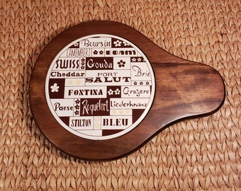 Vintage Cheese Tray // Cheese Board //- Wood and Ceramic Snack Tray // Cheese Decor // Cheese Cheese Cheese!
