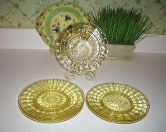 Eight Yellow Block Optic Luncheon Plates...Hocking Glass Co....1929-1933
