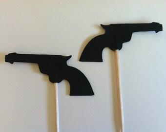 12 Gun/pistol  cupcake toppers-guns and glitter toppers