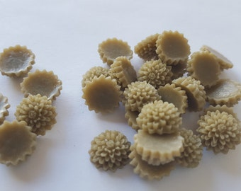 10 TINY Round Mum Cabochons - 12mm - Taupe Color - dahlia cabochon, mum flower, plastic resin chrysanthemum, brown tan cabs