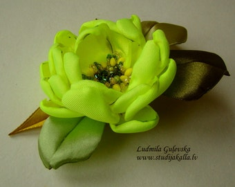 Handmade green-yellow satin flower brooch, flower clip & pin, embroidered flower