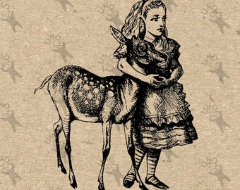 Vintage Alice & Fawn  Alice in Wonderland Black and White Retro Drawing Instant Download printable clipart graphic craft tote towel HQ300dpi