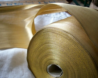 "1 yard of french antique gold lame ribbon 1920s, 5 3/4"" width, more avail."