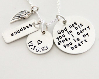 Sterling God Has You in His Arms Necklace - God - Memorial Necklace - In God's Arms - Angel Wing -