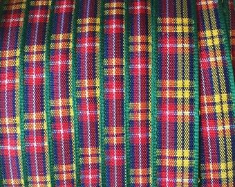 "Morex Buchanan Plaid Edinburgh Plaid Polyester Tartan Ribbon - Green, Yellow, Red, Blue, White - 3/8"" wide -  5 Yards Total Length"