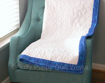 Lap Quilt, Blue and White Lap Quilt, Ivory Elegant Quilt, Blue Lap Quilt, Blue Throw Quilt, Blue Throw Quilt, Whole Cloth Plain Quilt