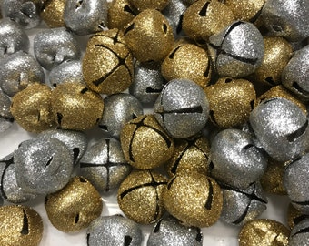 7 count silver and gold glitter jingle bell mix, 25 mm (UB)