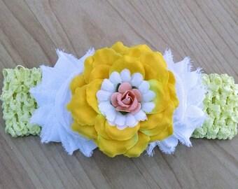Baby Girl Headband, Flower Headband, Yellow Headband, Rose Headband, Baby Hair Accessory, Shabby Headband, Little Girl Headband