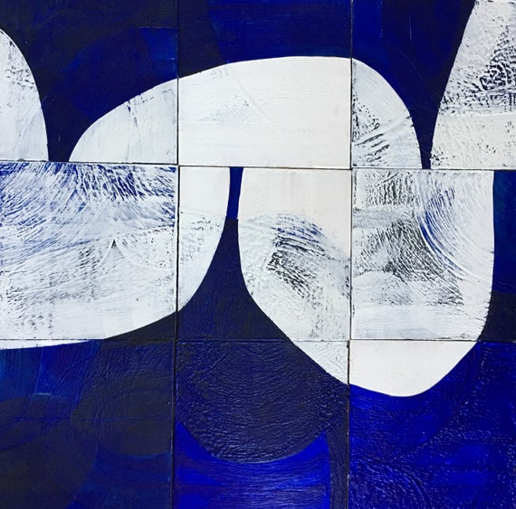 Sound and Vision, nine panel abstract blue and white painting