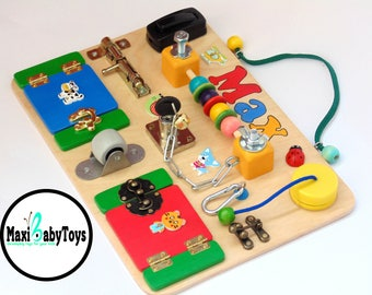 Travel Busy Board Montessori Personalized baby gift Baby sensory board Busyboard kids activity board Toys for toddler Wooden game boards