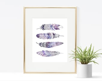 Galaxy Feathers Printable Artwork - Instant Download, 8x10, 5x7, 4x6 Wall Decor, Space, Simple, Wall Art, Home Decor