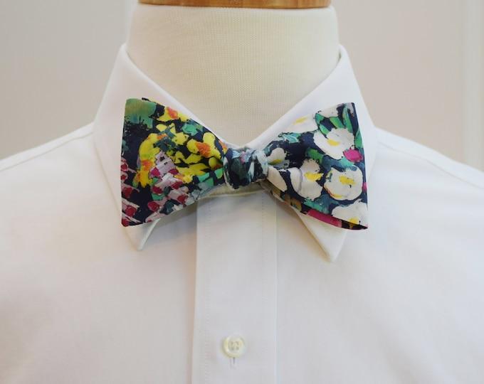 Men's Bow Tie, Liberty of London, navy/pink/multi floral Painters Meadow bow tie, groomsmen/groom bow tie, wedding bow tie, tux accessory