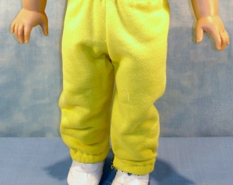 18 Inch Doll Clothes - Yellow Sweatpants handmade by Jane Ellen to fit 18 inch dolls