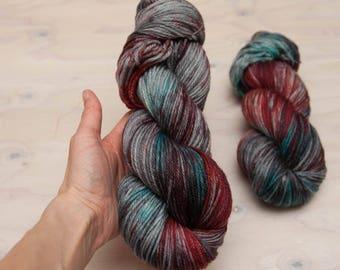 Hand dyed yarn, worsted yarn, Variegated yarn, superwash merino, wool yarn, blue yarn, red yarn, grey yarn, purple yarn