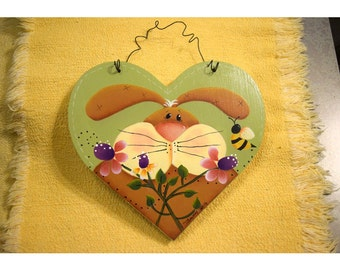 Spring Bunny Heart - Renee Mullins Design handpainted by Tammy Roberds