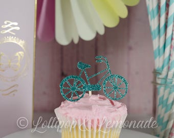 Glitter Bicycle cupcake toppers, 1 dozen