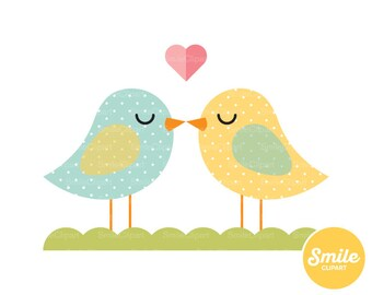 Birds Kissing Clipart Illustration for Commercial Use