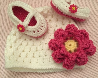 Bright pink daisy button Beanie and Mary Jane Shoes