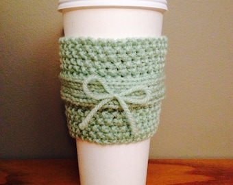 SALE: handmade knitted coffee cozy (in green)
