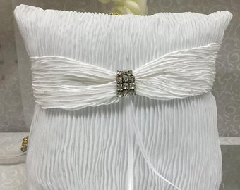 White Wedding Satin Ring Pillow with Rhinestones