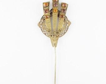 Vintage Art Nouveau Stickpin with Amber Glass Stones