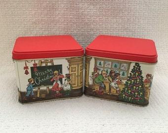 Christmas Tins, Square Tins, Potpourri Press Tins, Set of 2 tins, Xmas Tins, School Scene
