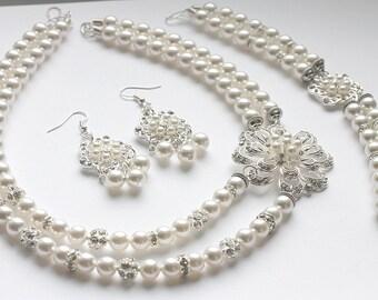 Bridal Jewelry Set, Swarovski Pearl Bridal Jewelry Set, White Pearl Necklace Earrings Bracelet Set, Pearl bridal Set, Brooche e28-b20-n26