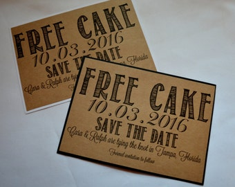 Free drinks save the date cards funny kraft rustic free cake save the date cards funny kraft rustic save the date card kraft bookmarktalkfo Images