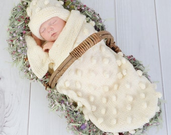 KNITTING PATTERN For Baby Bobble Cocoon, Papoose & Hat in 2 Sizes 0 to 3 months and 3-6 months PDF Pattern128 Digital Download