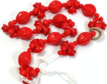 Red beads, Vintage Czech Pressed Glass Beads, Opaque, Cherry Red, Czech, Bead