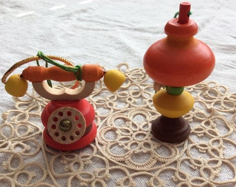 Vintage Steinbach Wood Ornaments / Steinbach Lamp and Telephone