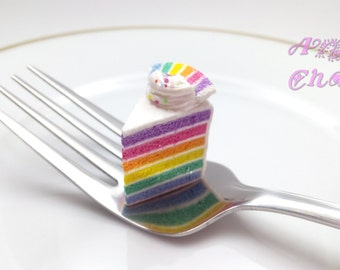 Rainbow Cake Charm, Miniature Food Jewelry, Polymer Clay Food Charm, Mini Food, Cake Jewelry, Cake Pendant, Trinket