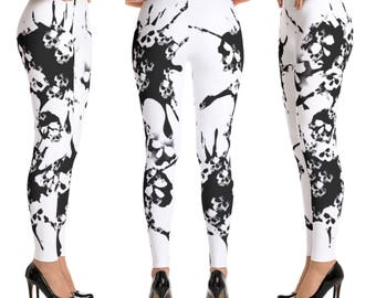 Black and White Skull Leggings, Skull Pants, Grunge Leggings, Roller Derby Leggings, Workout Leggings, Funky Leggings, Skull Clothing