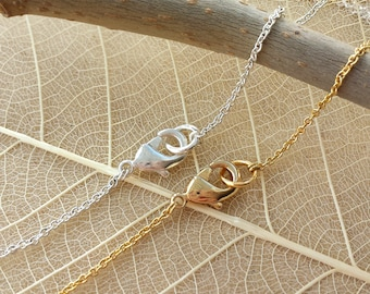 1pcs Finished Chain , 1mm 14k gold plated over Brass  Chain with golden Spring Ring Clasp ,Silver plated brass chain CHO01