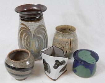 "Handmade Studio Pottery Collection Lot (5) 9"" Vase Blue Green Drip Glaze Cow Creamer"