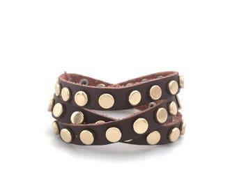 Wrap Leather Bracelet, Stud Bracelet, Triple Wrap Bracelet, Punk Bracelet, Boho, Chic, Adjustable, 3569