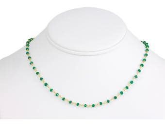 Green Onyx Necklace Faceted Spaced Link Beaded 14k Gold Fill or Sterling Silver Necklace 18 19 Inches Rich Emerald Green in Color