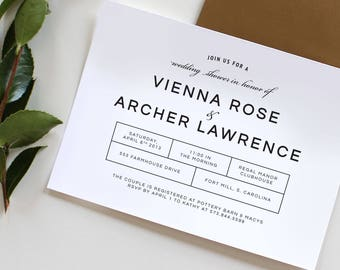 Modern Couples Shower Invitation | Couples Shower Invitation, Modern Wedding Shower Invitation, couples shower, bridal shower invitation