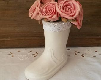 Vase shabby and romantic boot / pencil holder