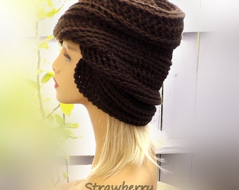 Crochet Hat Womens Hat Trendy, 1920s Cloche Hat, 50th Birthday Gift for Women, Coffee Brown Hat, African Hat, Judy Cloche Hat for Women