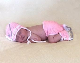 BABY GIRL HOCKEY Baby Girl Clothes, Pink Hockey Baby Girl Hats, Crochet Hockey Hat, Newborn Crochet Hat, Knit Hockey Skates Crocheted Skates