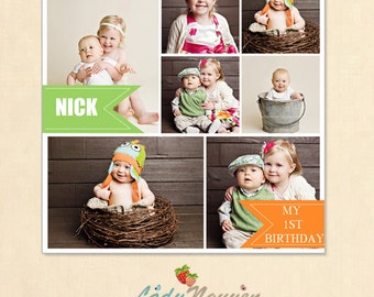 INSTANT DOWNLOAD 16 x 16 Collage & Blog Board, Storyboard Photoshop template - BL010