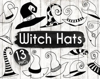 Halloween Witch Clipart - Hand Drawn Witch Hat Clip art - Halloween Digital Paper - Halloween Elements - Witches Hat Illustration - ACGABW29