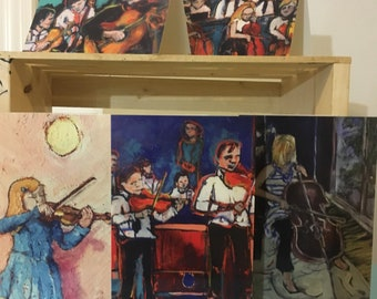 5 - 5x7 inch Art Greeting Cards Blank inside with envelopes // music instrument violin guitar cello figures - 5 Art Cards