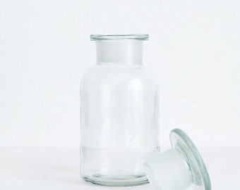 250 ml (8.5 fl oz) Clear Apothecary Jar, Round Czech Glass