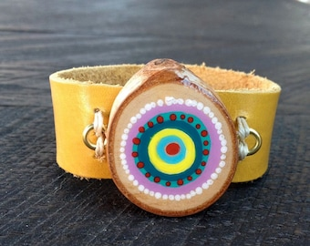 Leather Cuff Bracelet with Painted Wood Slice ,Watch like