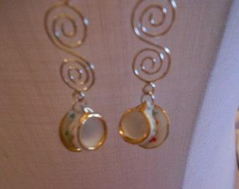 Swirling Door County Cherry Teacup Earrings