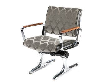 PDXoriginals Chromcraft Grey Mohair Powell Accent Chair - Mid Century Modern Airport Furniture