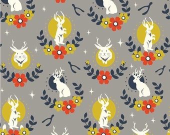 JACKALOPE SHROOM 100% Cotton ORGANIC Quilt Fabric by the Yard, Half Yard or Fat Quarter Tall Tales Birch Fabrics